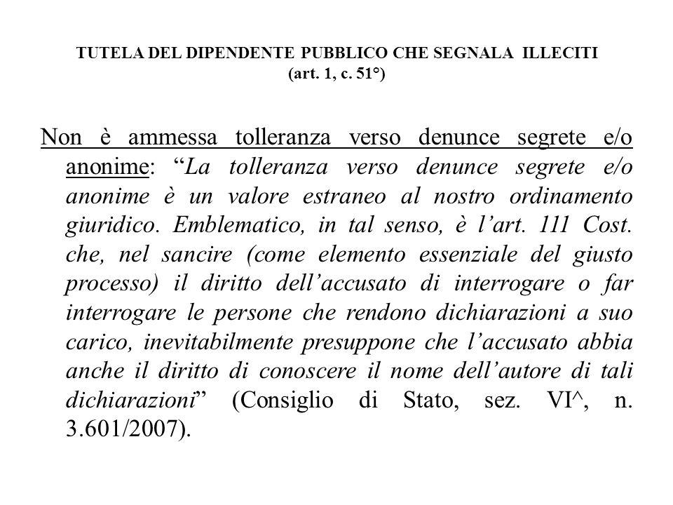 TUTELA DEL DIPENDENTE PUBBLICO CHE SEGNALA ILLECITI (art.