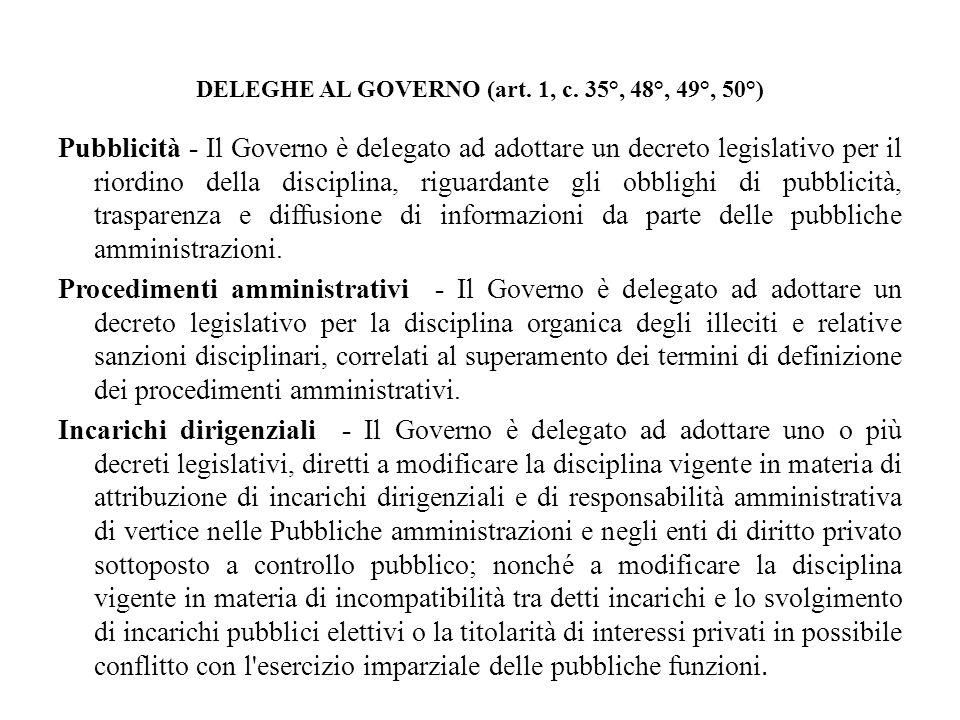 DELEGHE AL GOVERNO (art. 1, c. 35°, 48°, 49°, 50°) Pubblicità - Il Governo è delegato ad adottare un decreto legislativo per il riordino della discipl