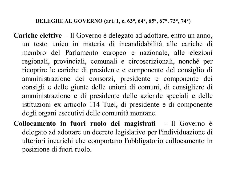 DELEGHE AL GOVERNO (art. 1, c. 63°, 64°, 65°, 67°, 73°, 74°) Cariche elettive - Il Governo è delegato ad adottare, entro un anno, un testo unico in ma