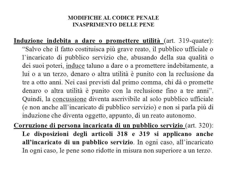 MODIFICHE AL CODICE PENALE INASPRIMENTO DELLE PENE Induzione indebita a dare o promettere utilità (art.