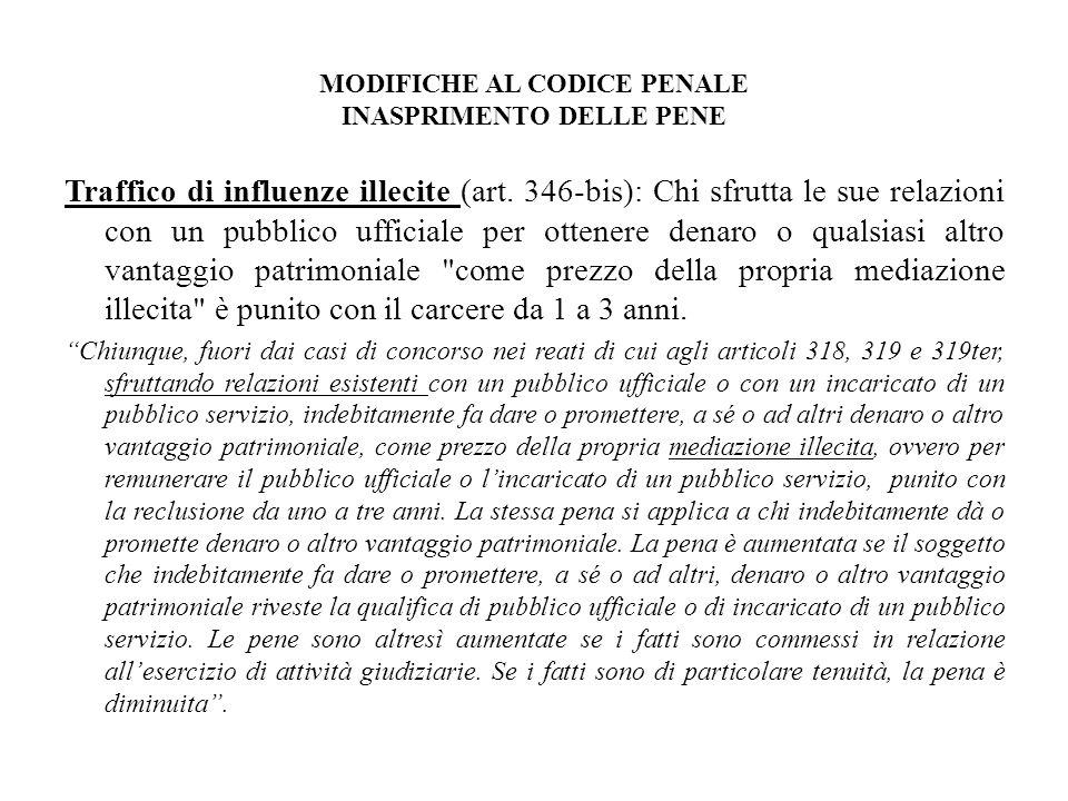 MODIFICHE AL CODICE PENALE INASPRIMENTO DELLE PENE Traffico di influenze illecite (art. 346-bis): Chi sfrutta le sue relazioni con un pubblico ufficia
