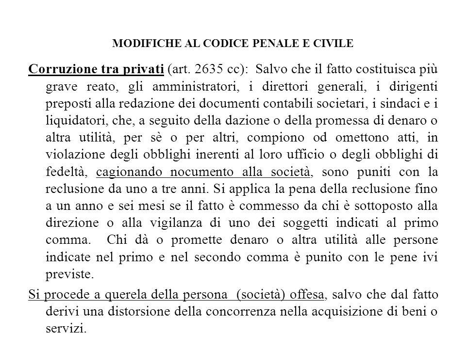 MODIFICHE AL CODICE PENALE E CIVILE Corruzione tra privati (art. 2635 cc): Salvo che il fatto costituisca più grave reato, gli amministratori, i diret
