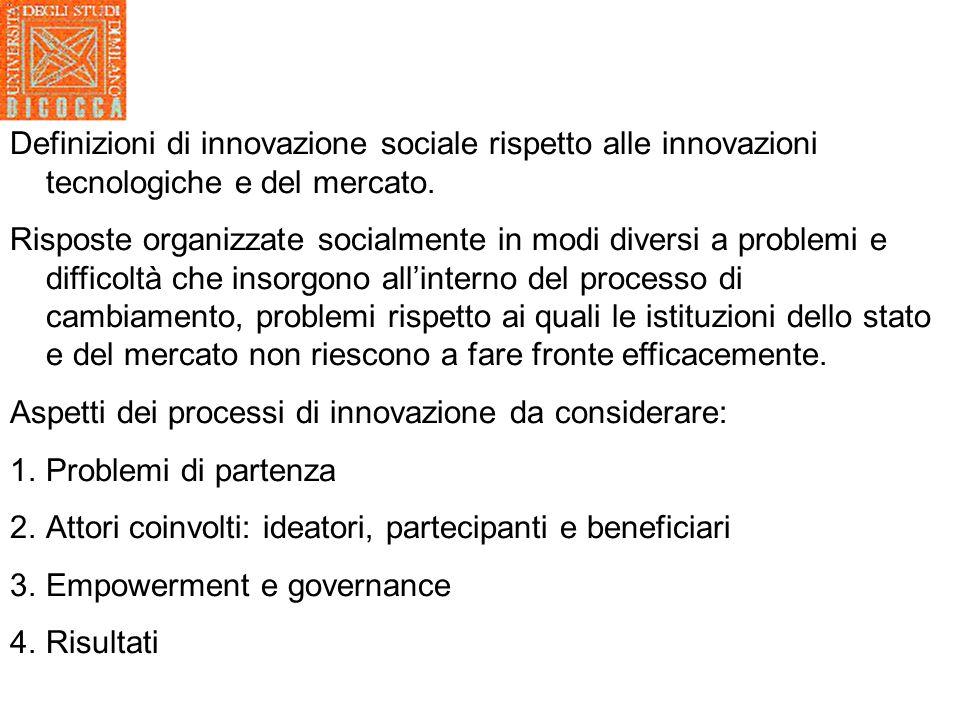 Innovazione sociale definizioni Da Vicari e Moulaert p.61: … vengono definite come socialmente innovative quelle iniziative dirette a contribuire allinclusione sociale attraverso cambiamenti nellagire dei soggetti e delle istituzioni.