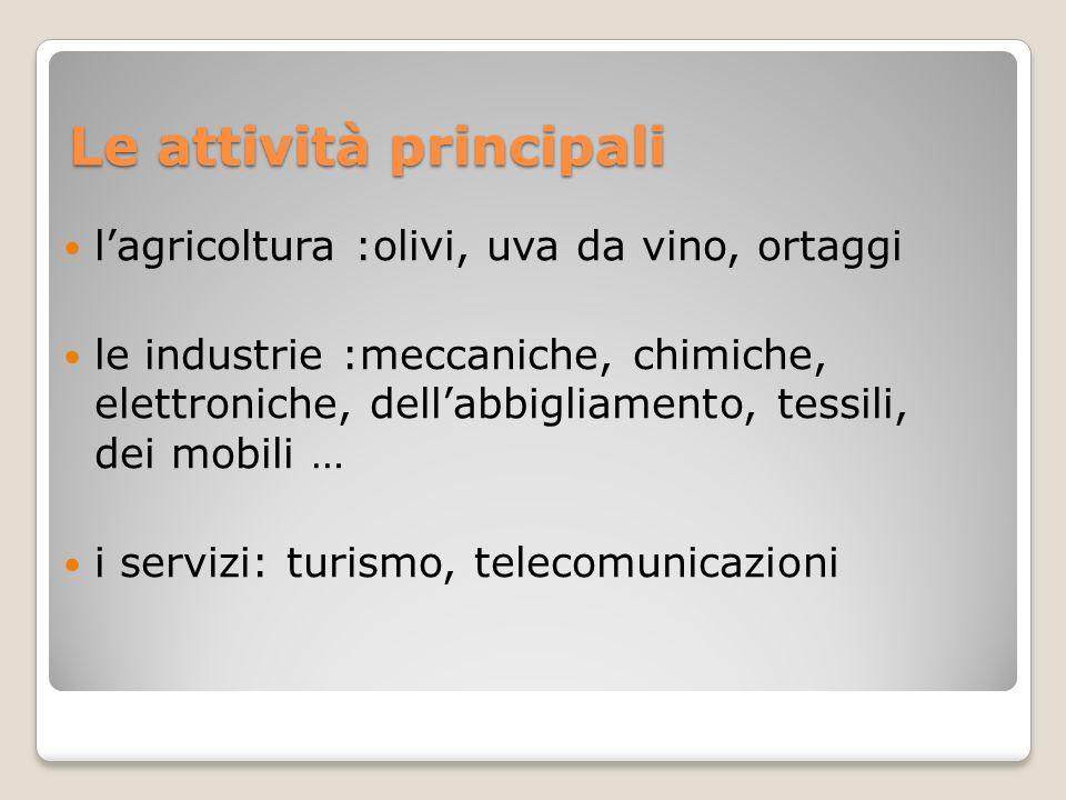 Le attività principali lagricoltura :olivi, uva da vino, ortaggi le industrie :meccaniche, chimiche, elettroniche, dellabbigliamento, tessili, dei mob