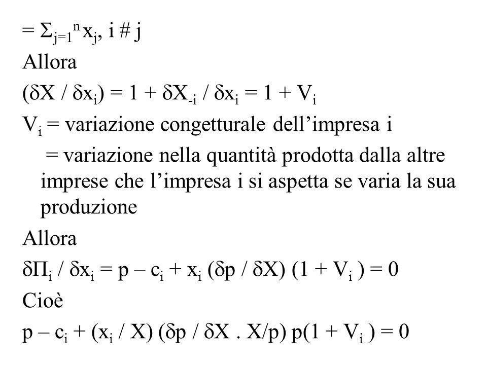 = j=1 n x j, i # j Allora ( X / x i ) = 1 + X -i / x i = 1 + V i V i = variazione congetturale dellimpresa i = variazione nella quantità prodotta dall