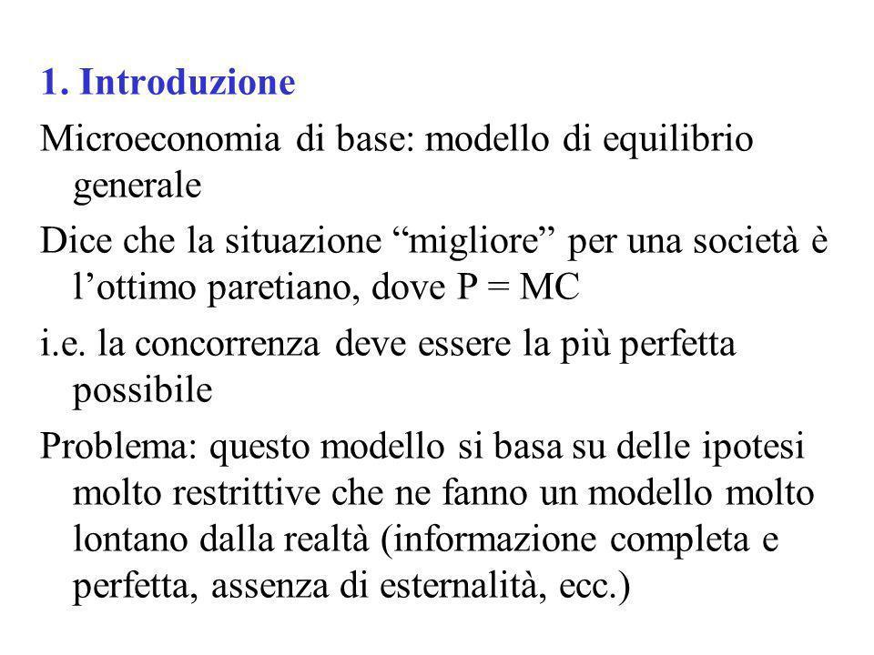 1. Introduzione Microeconomia di base: modello di equilibrio generale Dice che la situazione migliore per una società è lottimo paretiano, dove P = MC