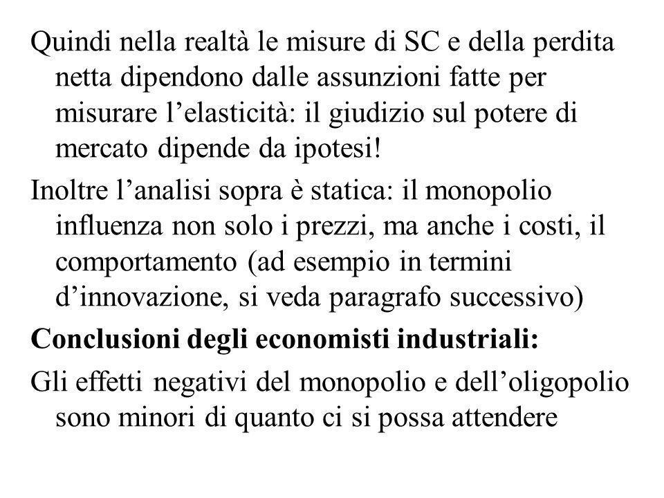 Quindi nella realtà le misure di SC e della perdita netta dipendono dalle assunzioni fatte per misurare lelasticità: il giudizio sul potere di mercato