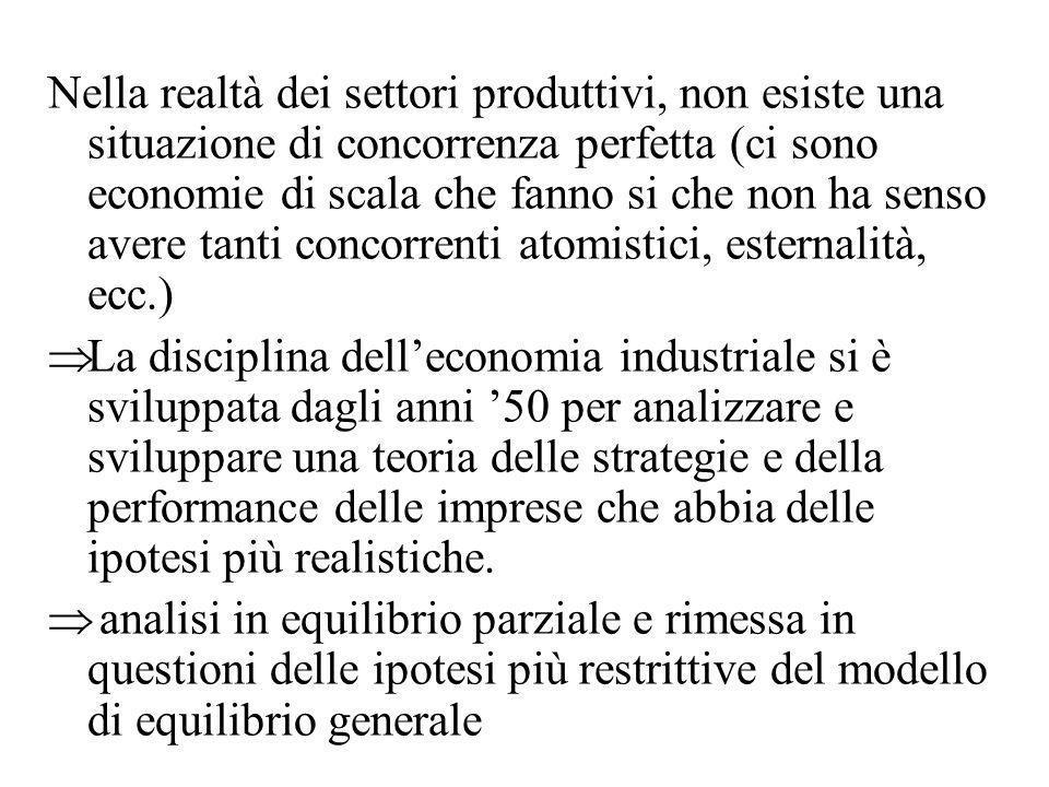 Nella realtà dei settori produttivi, non esiste una situazione di concorrenza perfetta (ci sono economie di scala che fanno si che non ha senso avere