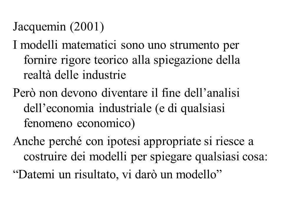 Jacquemin (2001) I modelli matematici sono uno strumento per fornire rigore teorico alla spiegazione della realtà delle industrie Però non devono dive