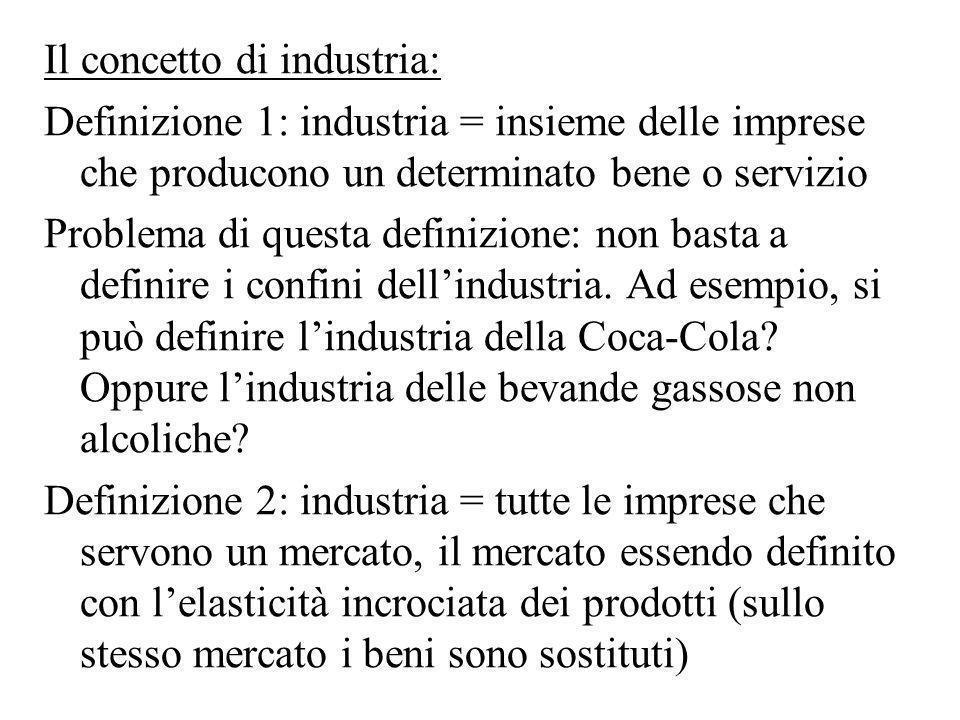 Il concetto di industria: Definizione 1: industria = insieme delle imprese che producono un determinato bene o servizio Problema di questa definizione