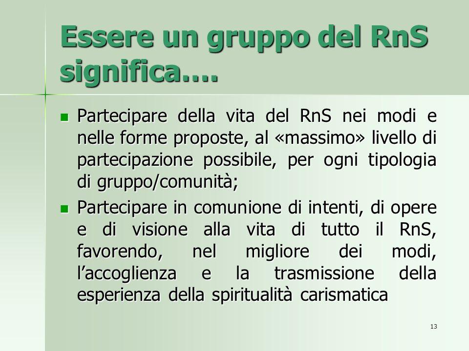 Essere un gruppo del RnS significa….