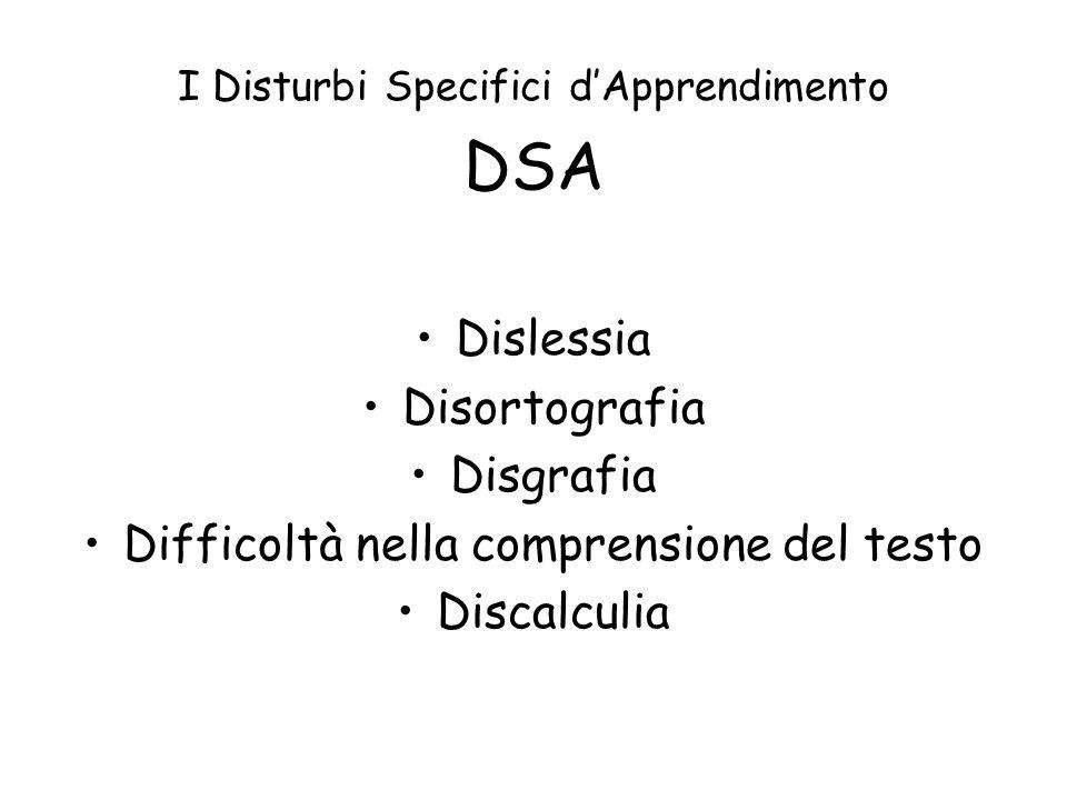 I Disturbi Specifici dApprendimento DSA Dislessia Disortografia Disgrafia Difficoltà nella comprensione del testo Discalculia