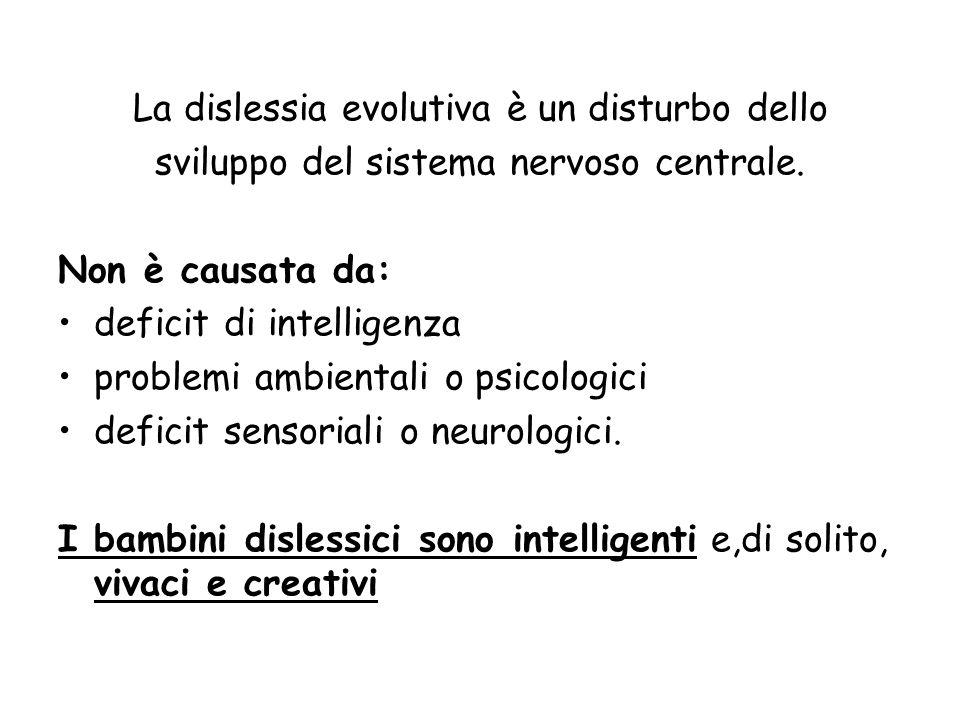 La dislessia evolutiva è un disturbo dello sviluppo del sistema nervoso centrale. Non è causata da: deficit di intelligenza problemi ambientali o psic