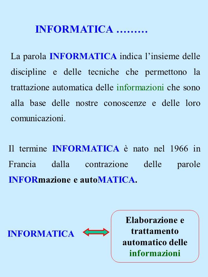 INFORMATICA ……… La parola INFORMATICA indica linsieme delle discipline e delle tecniche che permettono la trattazione automatica delle informazioni ch