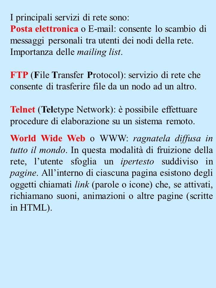 I principali servizi di rete sono: Posta elettronica o E-mail: consente lo scambio di messaggi personali tra utenti dei nodi della rete. Importanza de