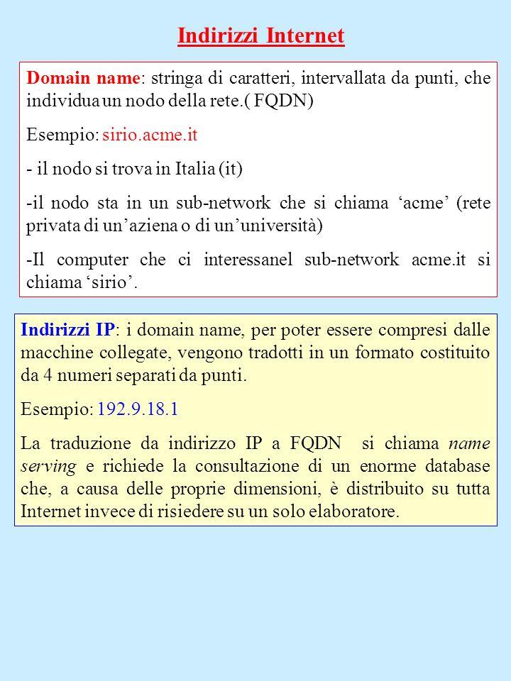 Indirizzi Internet Domain name: stringa di caratteri, intervallata da punti, che individua un nodo della rete.( FQDN) Esempio: sirio.acme.it - il nodo