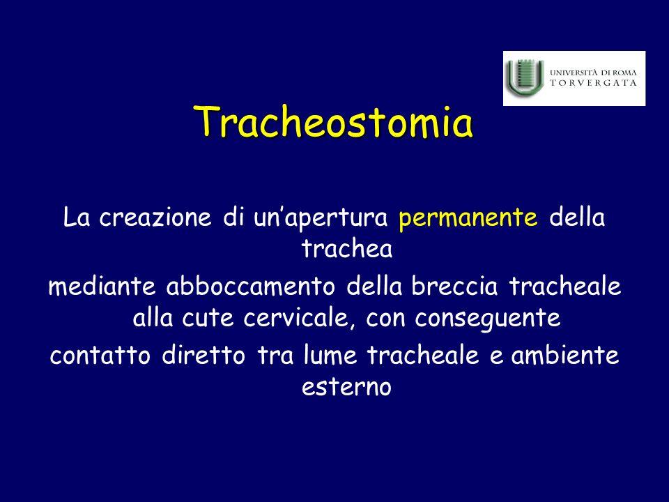 Tracheostomia La creazione di unapertura permanente della trachea mediante abboccamento della breccia tracheale alla cute cervicale, con conseguente c