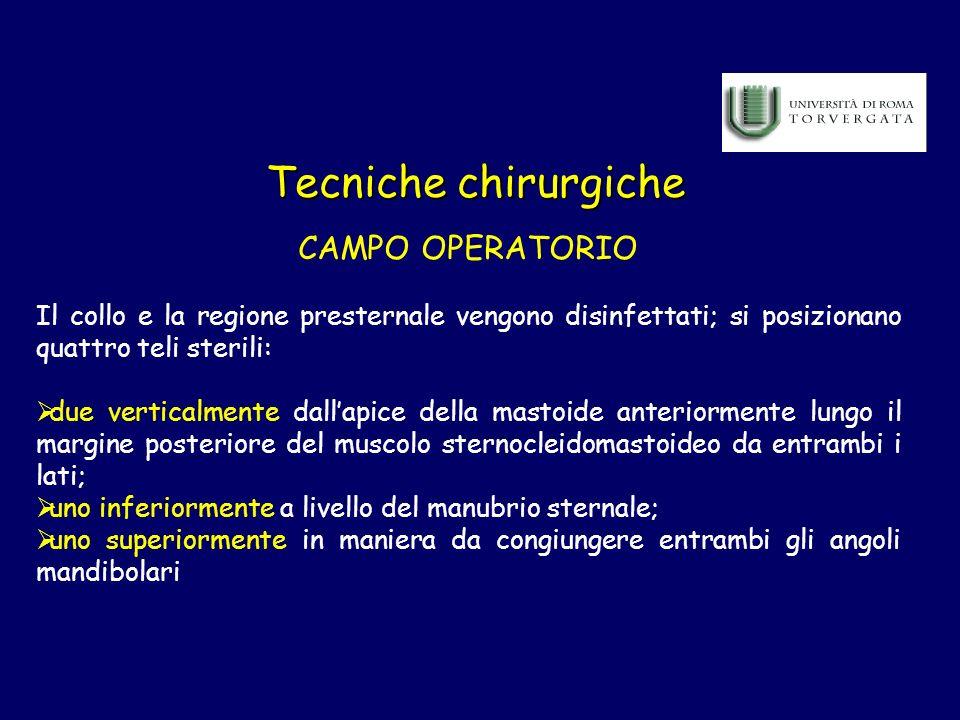 Tecniche chirurgiche CAMPO OPERATORIO Il collo e la regione presternale vengono disinfettati; si posizionano quattro teli sterili: due verticalmente d