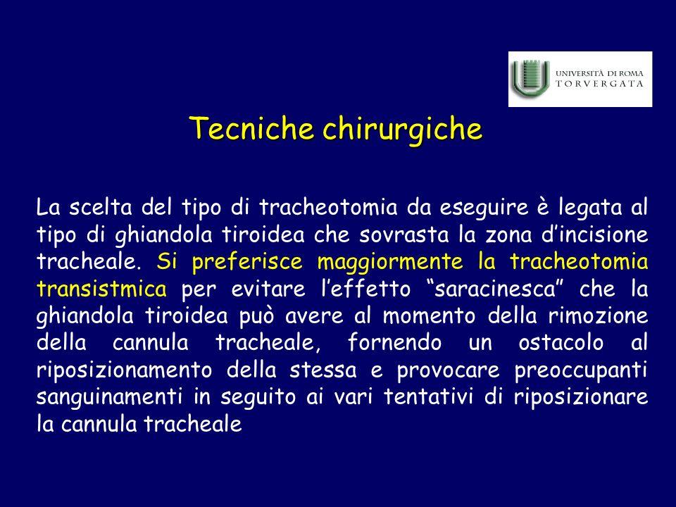 Tecniche chirurgiche La scelta del tipo di tracheotomia da eseguire è legata al tipo di ghiandola tiroidea che sovrasta la zona dincisione tracheale.