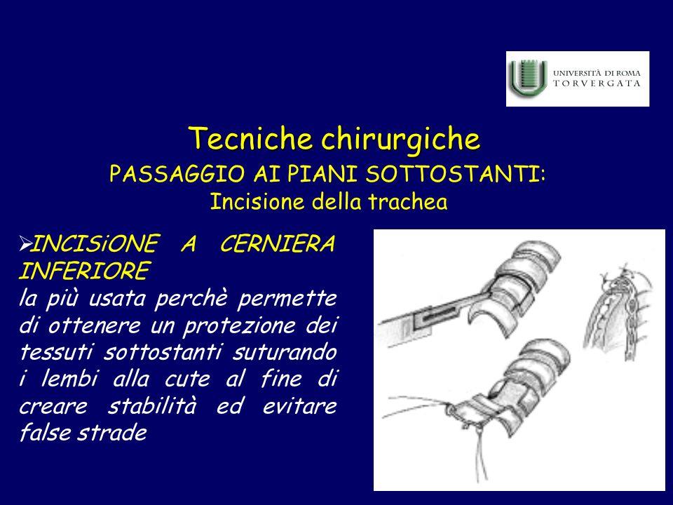 Tecniche chirurgiche PASSAGGIO AI PIANI SOTTOSTANTI: Incisione della trachea INCISiONE A CERNIERA INFERIORE la più usata perchè permette di ottenere u