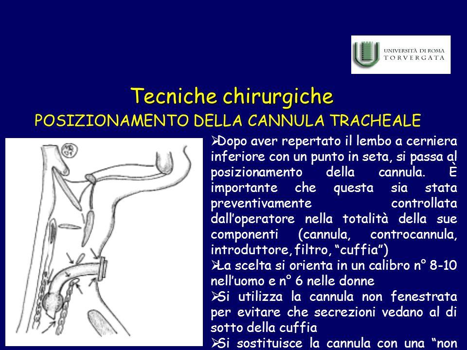 Tecniche chirurgiche POSIZIONAMENTO DELLA CANNULA TRACHEALE Dopo aver repertato il lembo a cerniera inferiore con un punto in seta, si passa al posizi