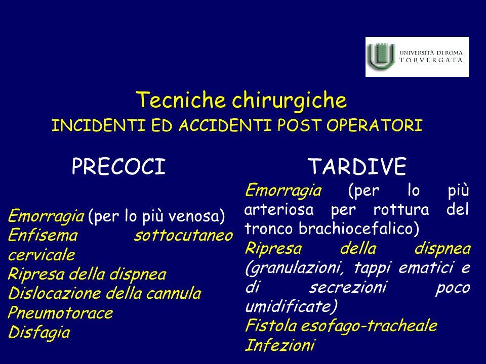 Tecniche chirurgiche INCIDENTI ED ACCIDENTI POST OPERATORI PRECOCI Emorragia (per lo più venosa) Enfisema sottocutaneo cervicale Ripresa della dispnea