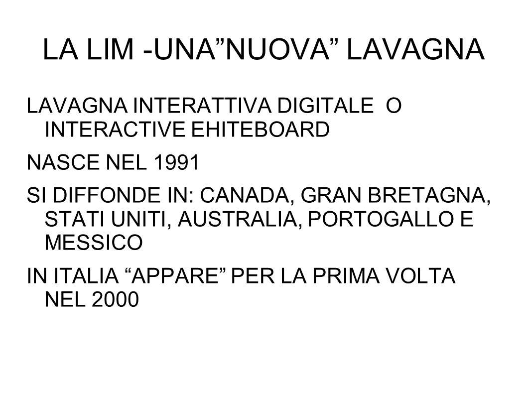 LA LIM -UNANUOVA LAVAGNA LAVAGNA INTERATTIVA DIGITALE O INTERACTIVE EHITEBOARD NASCE NEL 1991 SI DIFFONDE IN: CANADA, GRAN BRETAGNA, STATI UNITI, AUST