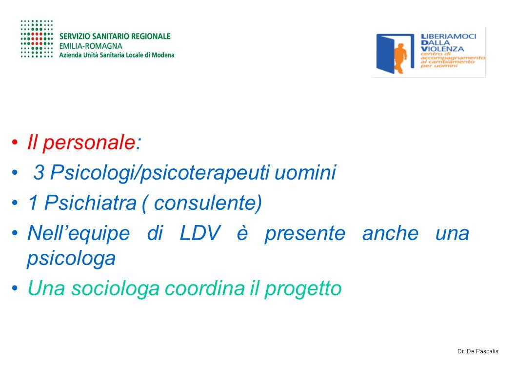 Il personale: 3 Psicologi/psicoterapeuti uomini 1 Psichiatra ( consulente) Nellequipe di LDV è presente anche una psicologa Una sociologa coordina il progetto Dr.