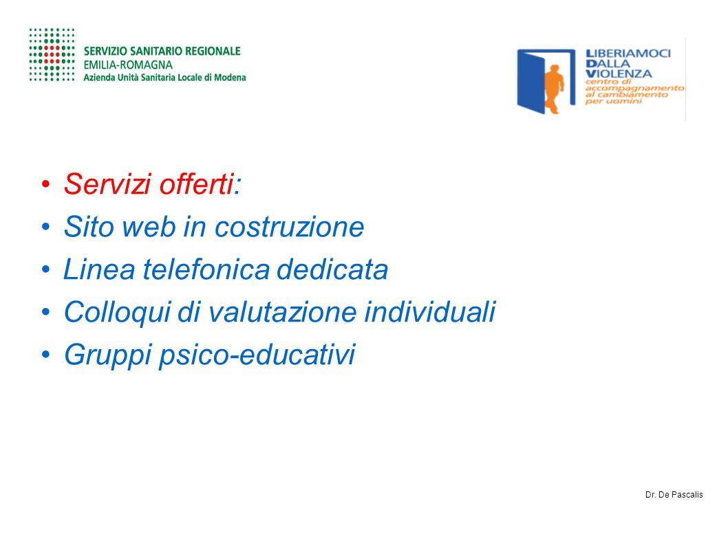 Servizi offerti: Sito web in costruzione Linea telefonica dedicata Colloqui di valutazione individuali Gruppi psico-educativi Dr.