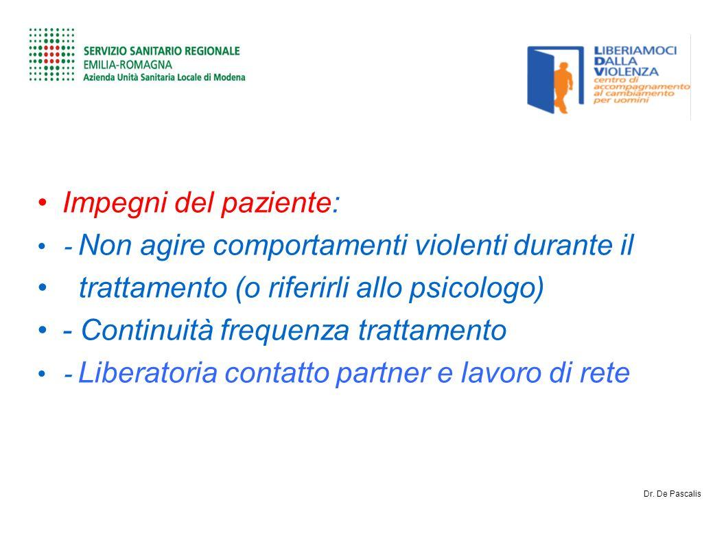 Impegni del paziente: - Non agire comportamenti violenti durante il trattamento (o riferirli allo psicologo) - Continuità frequenza trattamento - Liberatoria contatto partner e lavoro di rete Dr.