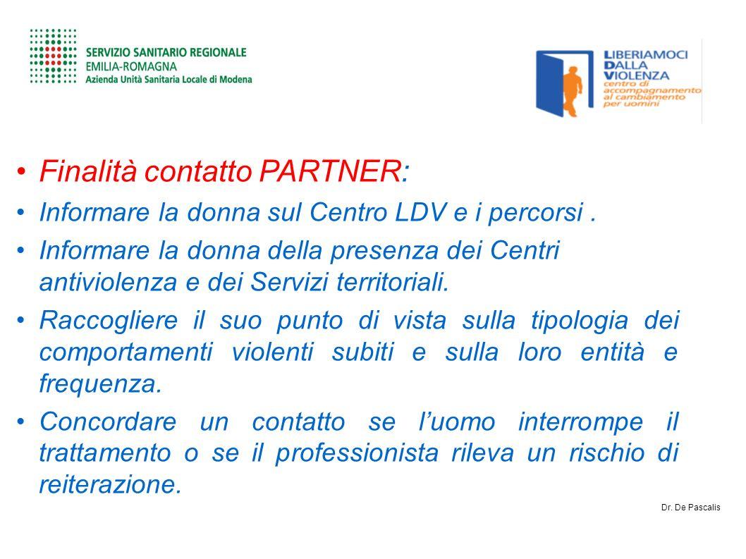 Finalità contatto PARTNER: Informare la donna sul Centro LDV e i percorsi.