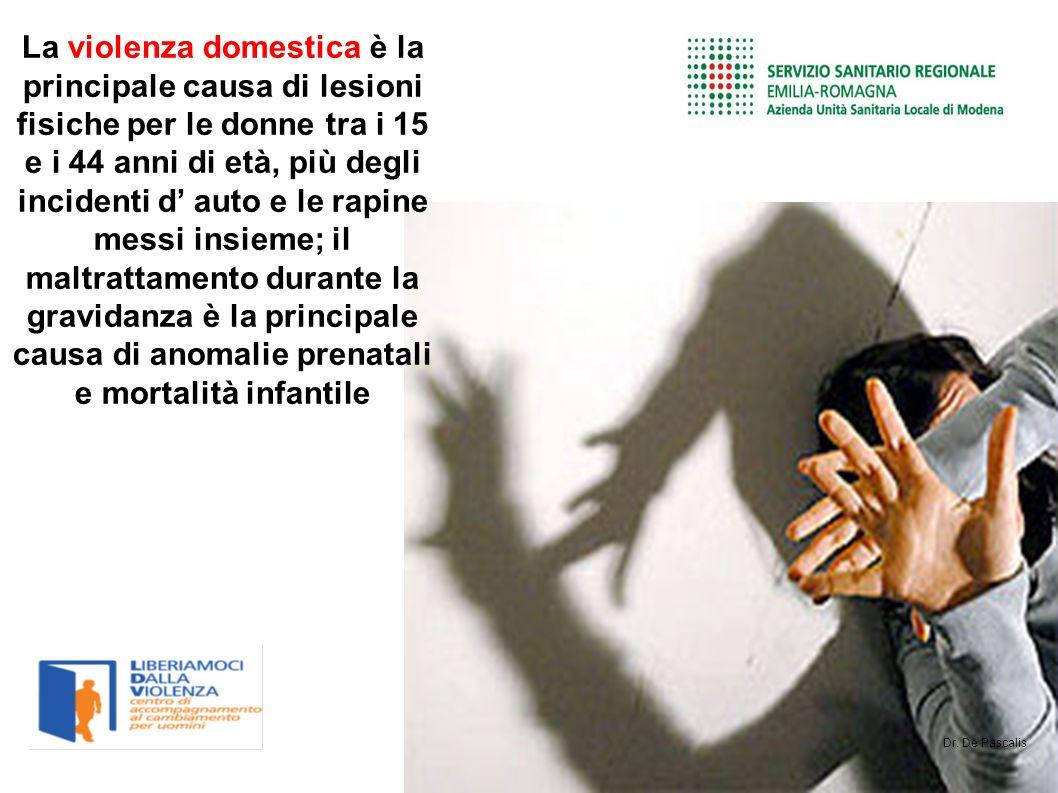 La violenza domestica è la principale causa di lesioni fisiche per le donne tra i 15 e i 44 anni di età, più degli incidenti d auto e le rapine messi insieme; il maltrattamento durante la gravidanza è la principale causa di anomalie prenatali e mortalità infantile Dr.