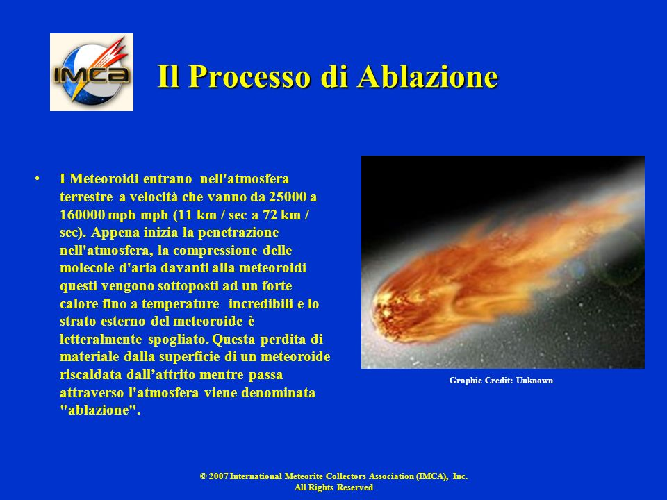© 2007 International Meteorite Collectors Association (IMCA), Inc. All Rights Reserved Il Processo di Ablazione I Meteoroidi entrano nell'atmosfera te