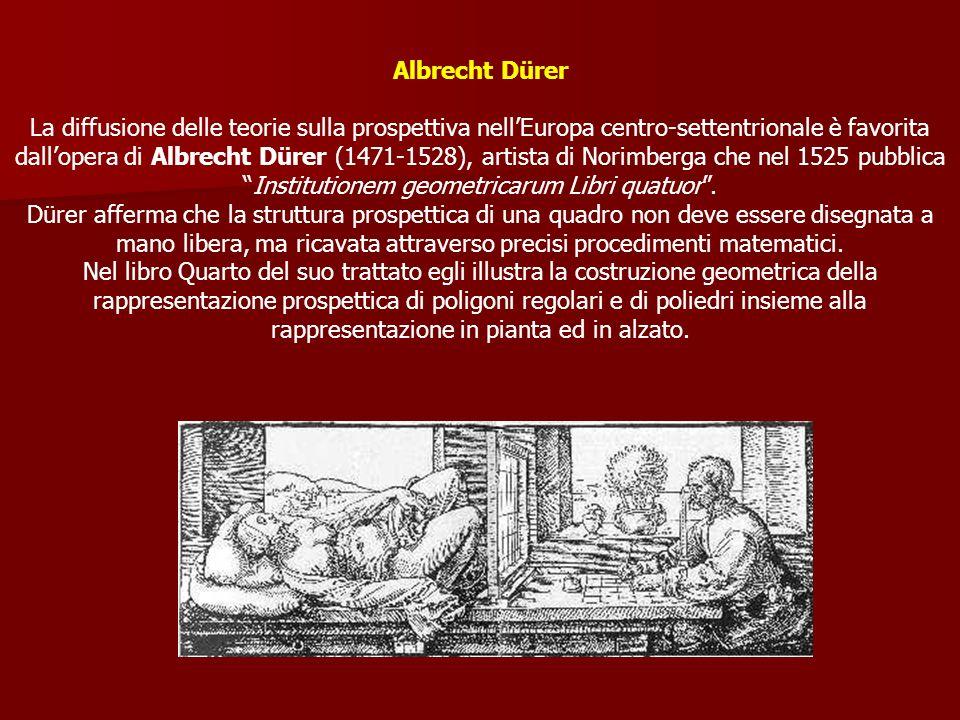 Albrecht Dürer La diffusione delle teorie sulla prospettiva nellEuropa centro-settentrionale è favorita dallopera di Albrecht Dürer (1471-1528), artis