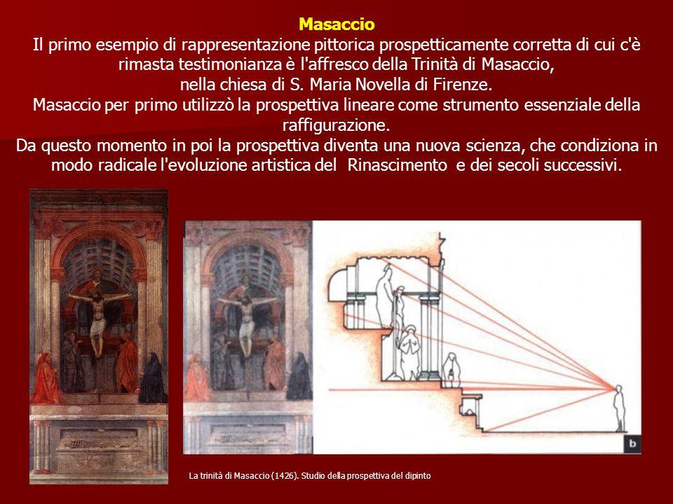 Masaccio Il primo esempio di rappresentazione pittorica prospetticamente corretta di cui c'è rimasta testimonianza è l'affresco della Trinità di Masac