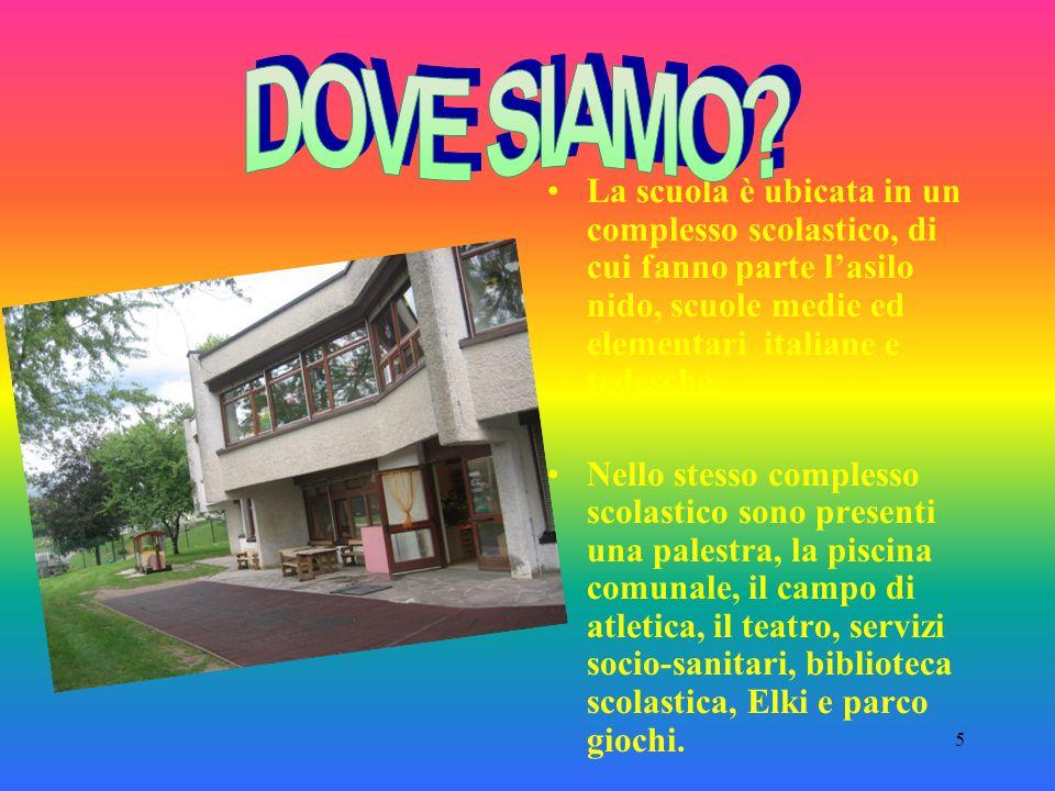 5 La scuola è ubicata in un complesso scolastico, di cui fanno parte lasilo nido, scuole medie ed elementari italiane e tedesche.
