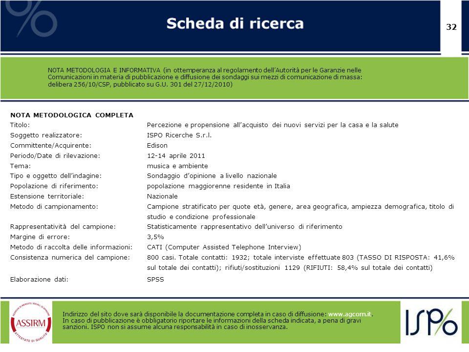 32 NOTA METODOLOGIA E INFORMATIVA (in ottemperanza al regolamento dellAutorità per le Garanzie nelle Comunicazioni in materia di pubblicazione e diffu