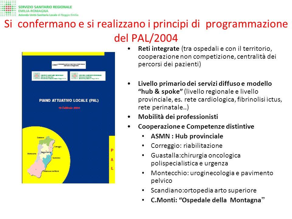 Si confermano e si realizzano i principi di programmazione del PAL/2004 Reti integrate (tra ospedali e con il territorio, cooperazione non competizione, centralità dei percorsi dei pazienti) Livello primario dei servizi diffuso e modello hub & spoke (livello regionale e livello provinciale, es.