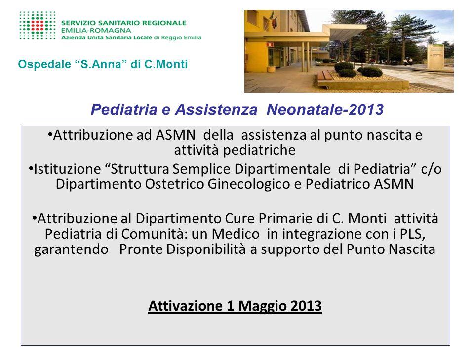 Pediatria e Assistenza Neonatale-2013 Attribuzione ad ASMN della assistenza al punto nascita e attività pediatriche Istituzione Struttura Semplice Dipartimentale di Pediatria c/o Dipartimento Ostetrico Ginecologico e Pediatrico ASMN Attribuzione al Dipartimento Cure Primarie di C.
