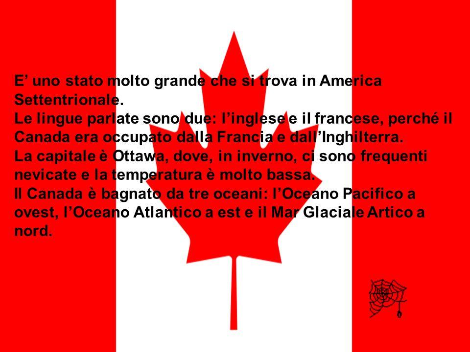 E uno stato molto grande che si trova in America Settentrionale. Le lingue parlate sono due: linglese e il francese, perché il Canada era occupato dal