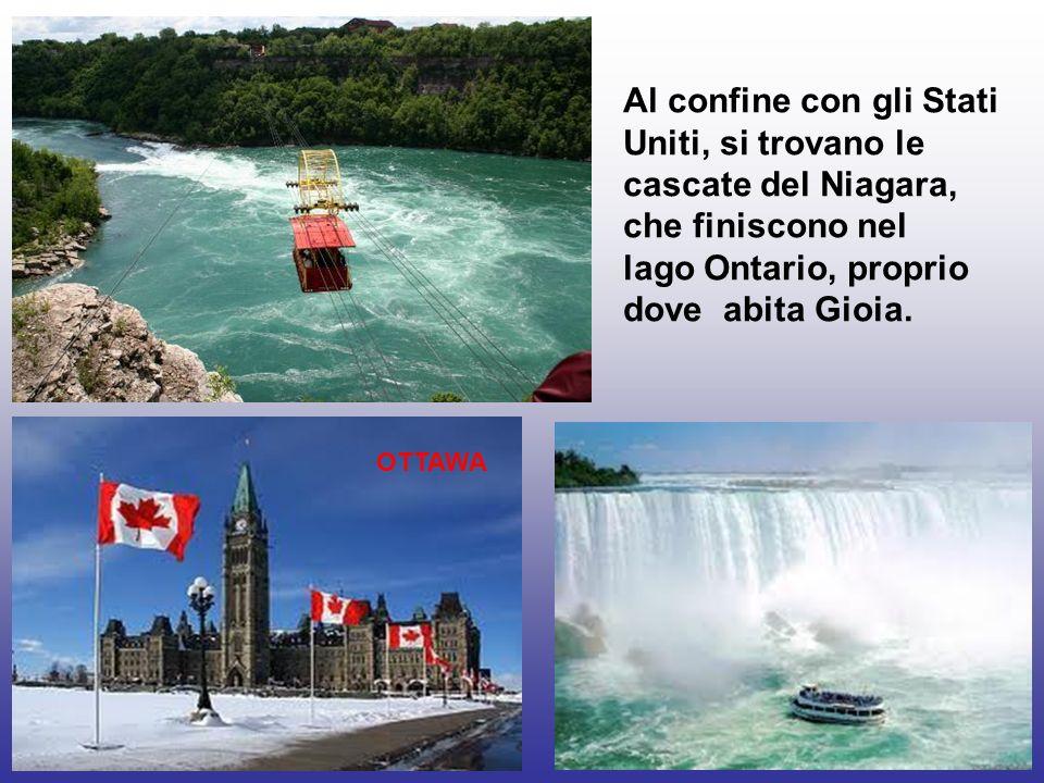 Al confine con gli Stati Uniti, si trovano le cascate del Niagara, che finiscono nel lago Ontario, proprio dove abita Gioia. OTTAWA