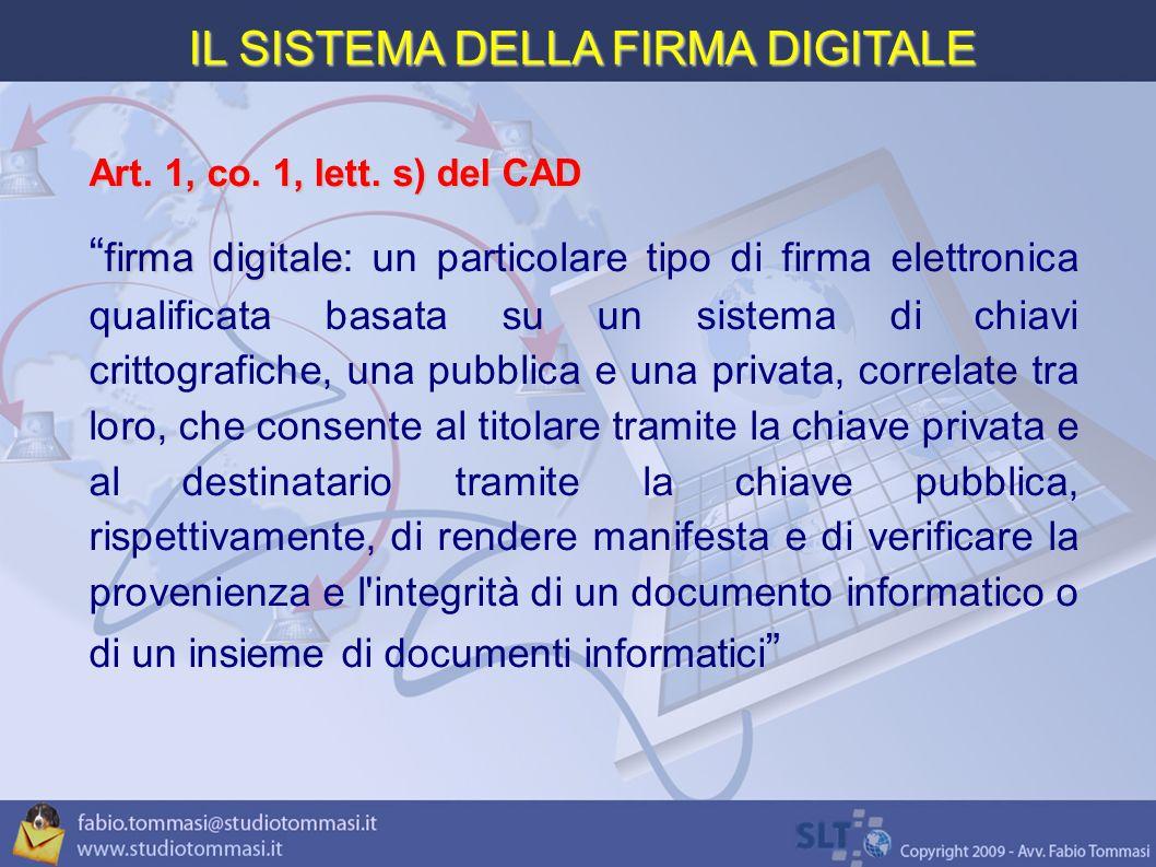 IL SISTEMA DELLA FIRMA DIGITALE Art.1, co. 1, lett.