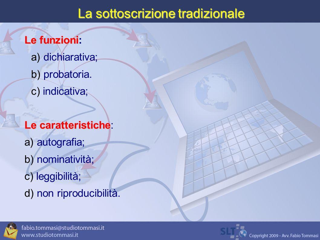 La sottoscrizione tradizionale Le funzioni Le funzioni: a) dichiarativa; b) probatoria.