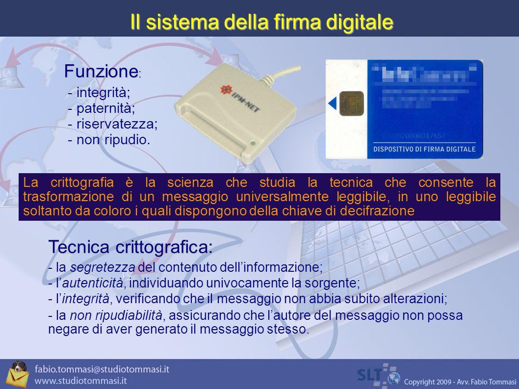 Il sistema della firma digitale Funzione : - integrità; - paternità; - riservatezza; - non ripudio.