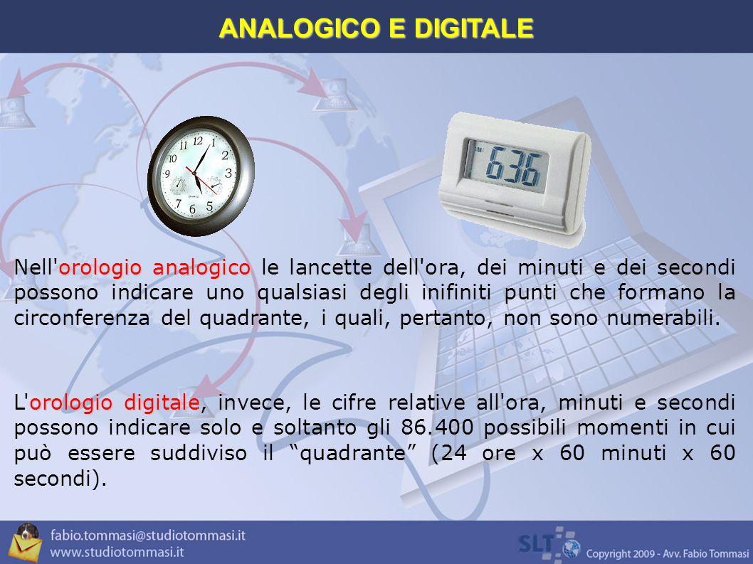 orologio analogico Nell orologio analogico le lancette dell ora, dei minuti e dei secondi possono indicare uno qualsiasi degli inifiniti punti che formano la circonferenza del quadrante, i quali, pertanto, non sono numerabili.