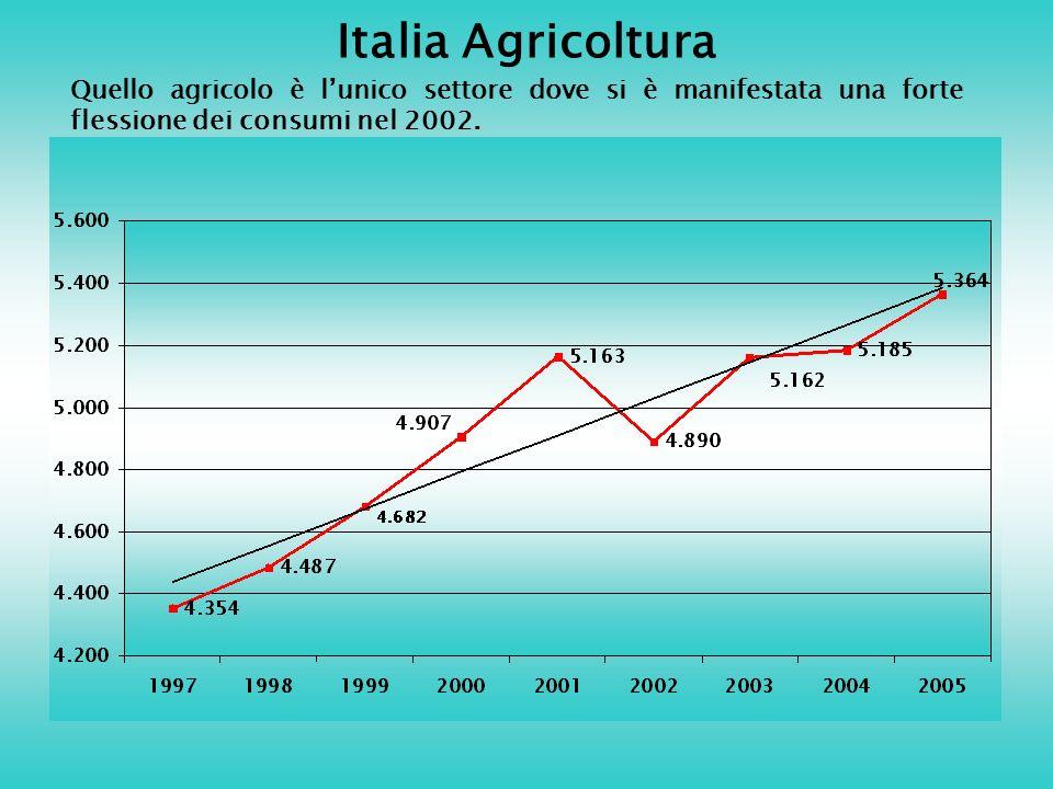Italia Agricoltura Quello agricolo è lunico settore dove si è manifestata una forte flessione dei consumi nel 2002.