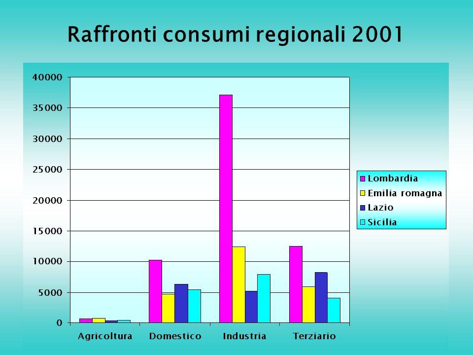 Raffronti consumi regionali 2001