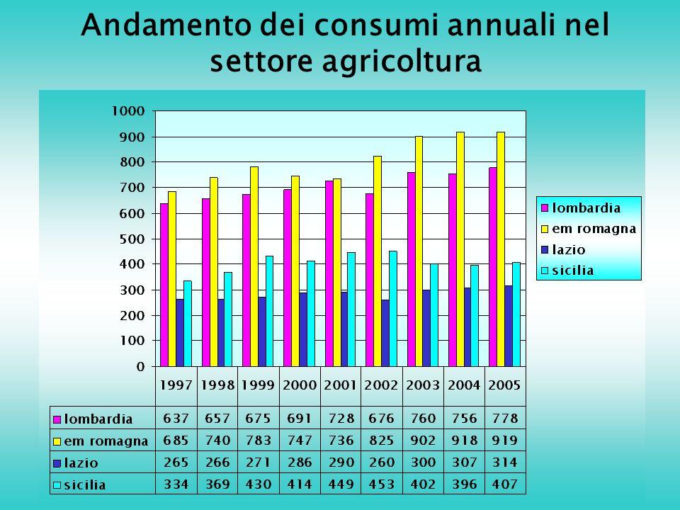 Andamento dei consumi annuali nel settore agricoltura