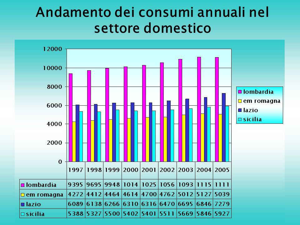 Andamento dei consumi annuali nel settore domestico