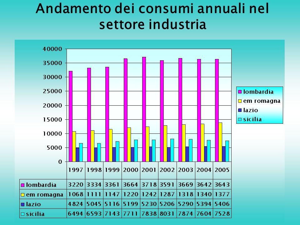 Andamento dei consumi annuali nel settore industria